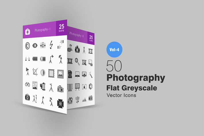 Thumbnail for 50 Photography Greyscale Icons