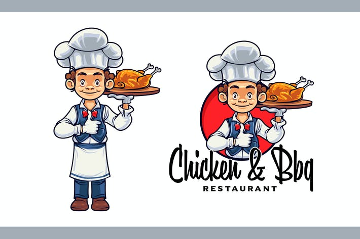Thumbnail for Cartoon Young Chef Character Mascot Logo