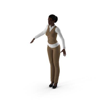 Dark Skin Business Style Woman Neutral Pose