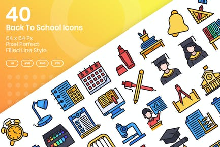 40 Zurück zur Schule Icons Set - gefüllte Linie