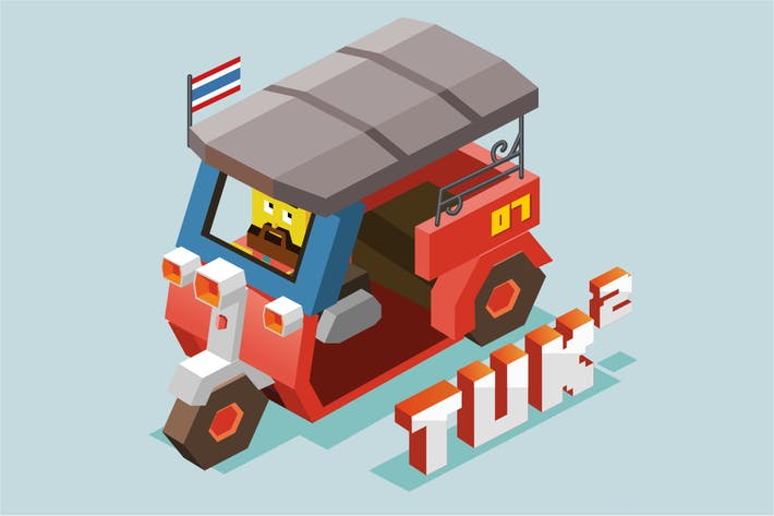 Thumbnail for Tuktuk in Bangkok isometric vector