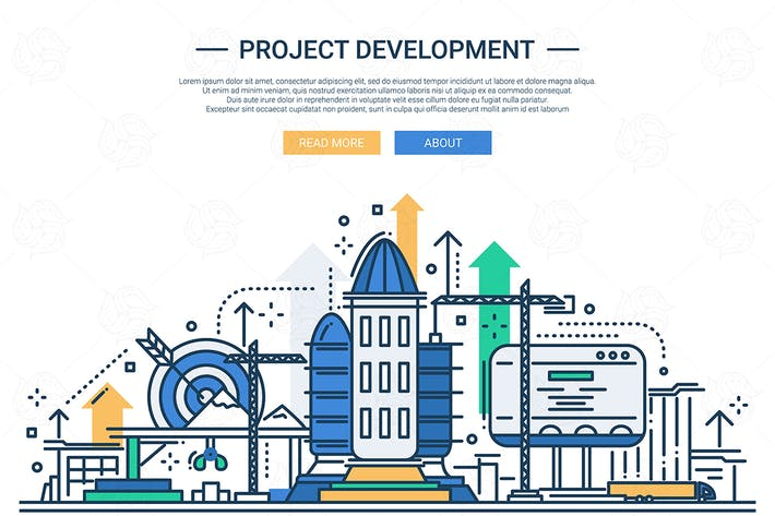 Thumbnail for Project Development - line design website banner