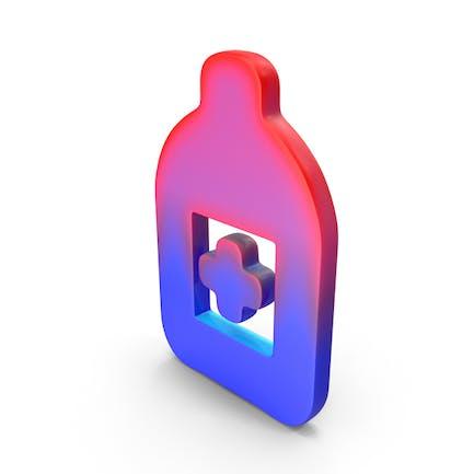 Botella de medicina con logo