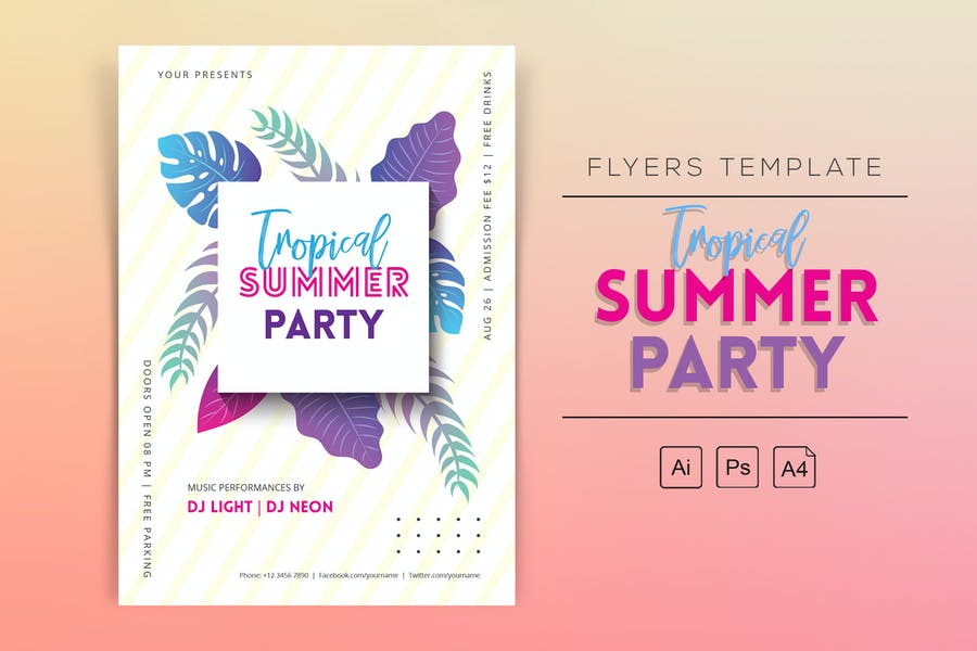 Tropischer Sommerparty-Flyer