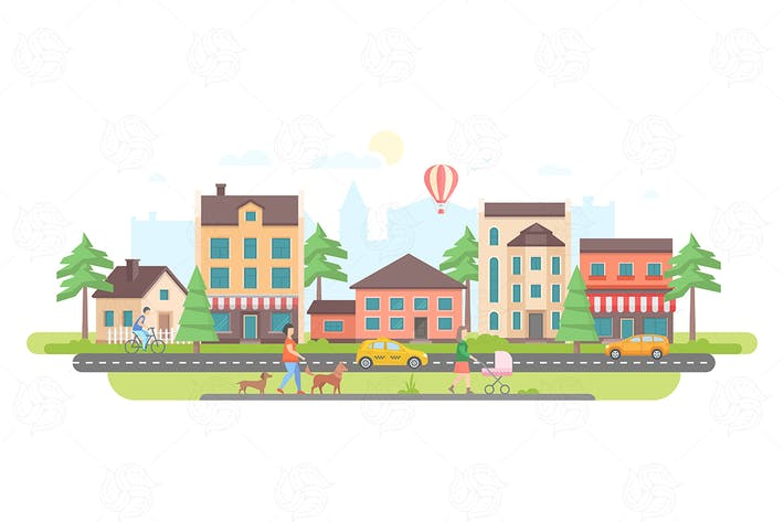 Thumbnail for Town life - flat design style vector illustration