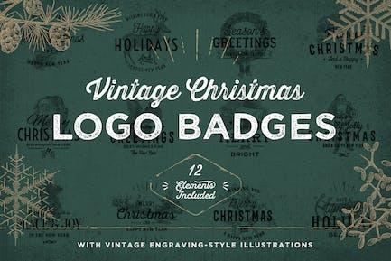 Vintage Christmas Logo Badges