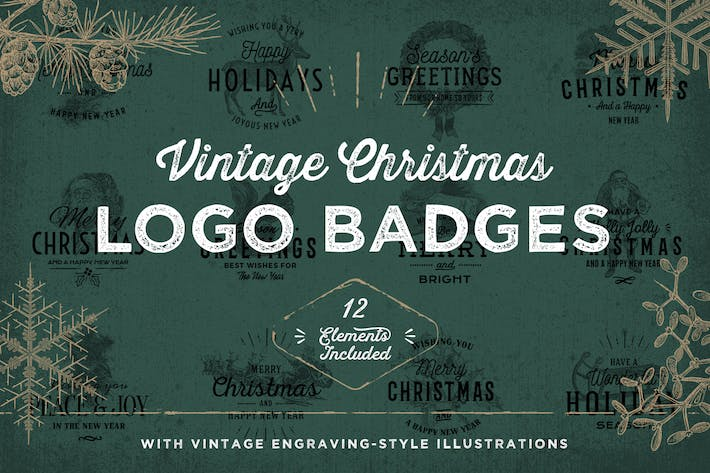Thumbnail for Vintage Christmas Logo Badges