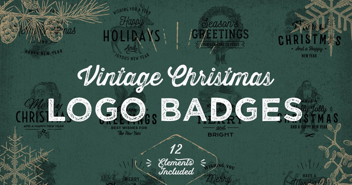 Download Vintage Christmas Logo Badges by GraphicGoods