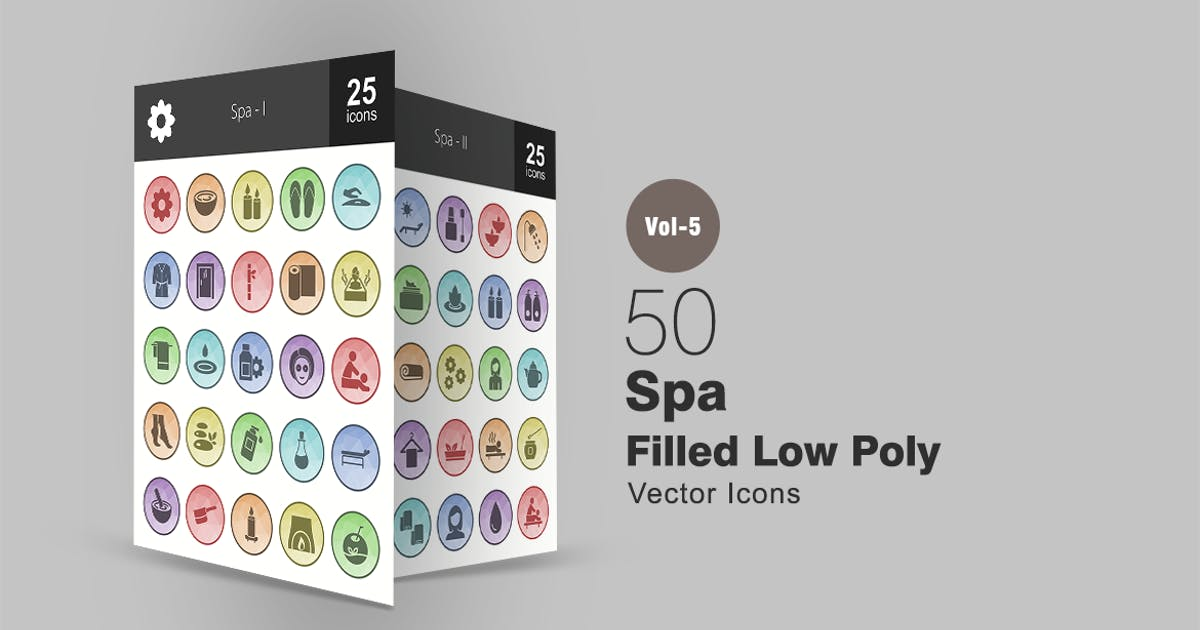Download 50 Spa Filled Low Poly Icons by IconBunny