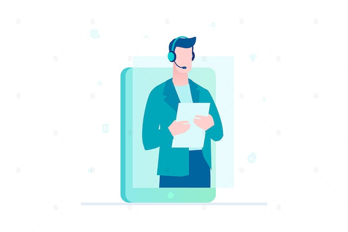 Thumbnail for Call center operator - flat design illustration