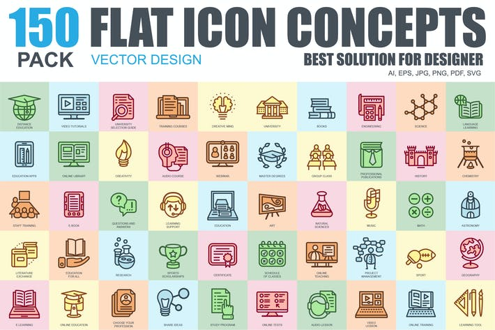 Thumbnail for Flat Line Icons