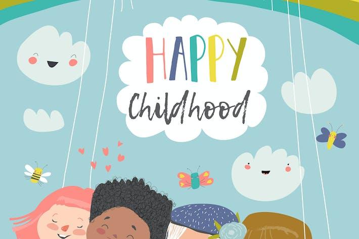 Enfants heureux volant sur une balançoire #illustration2020