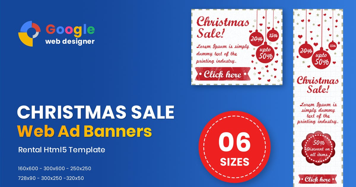 Download Christmas Sale Banner HTML5 - Animate by MotionFF