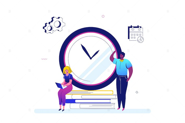 Thumbnail for Time management - flat design style illustration