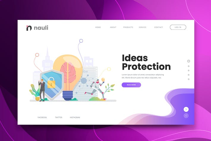 Ideas Protection Web PSD and AI Vector Template