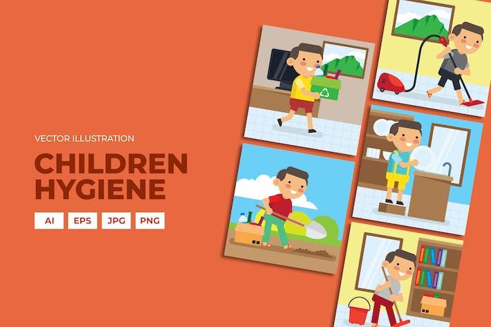 Thumbnail for Гигиеническая кампания. Дети делают дом основные векторы