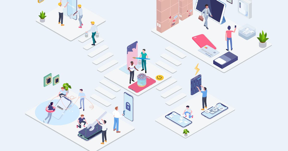 Download Warranty Customer Care Service Isometric - G1 by angelbi88