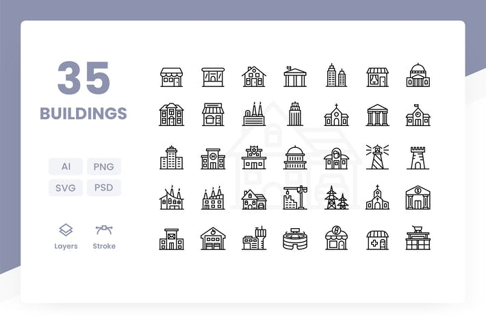 Cover Image For Buildings - Icons Pack