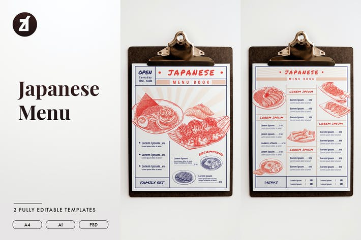 Thumbnail for Japanese menu template