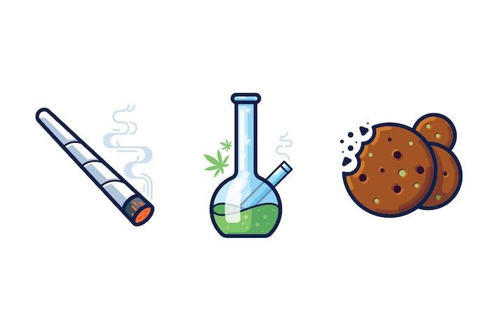Thumbnail for Cannabis icon set
