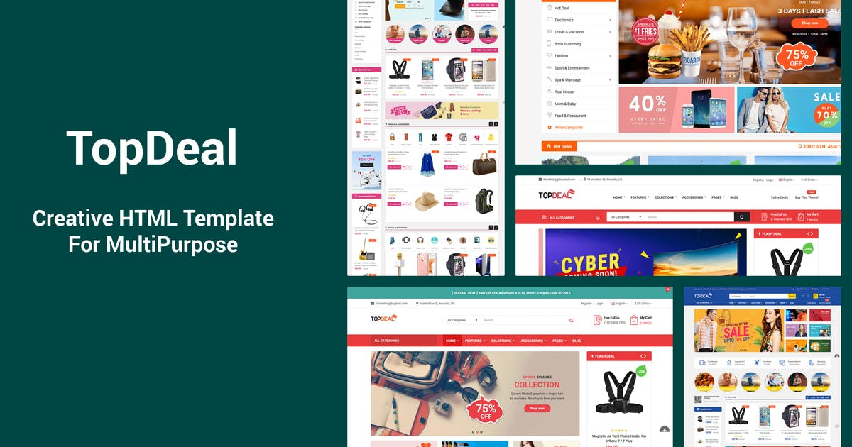 Download TopDeal - Responsive MultiPurpose HTML Template by magentech