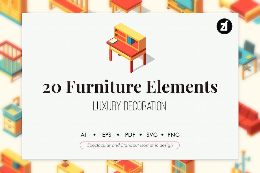 25 Furniture isometric elements