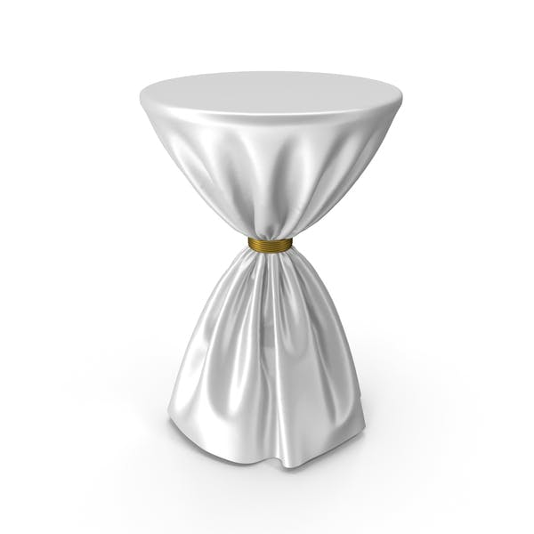 White and Gold Silk Tablecloth Cocktail Table