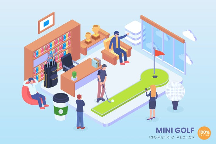 Thumbnail for Isometric Mini Office Golf Vector Concept