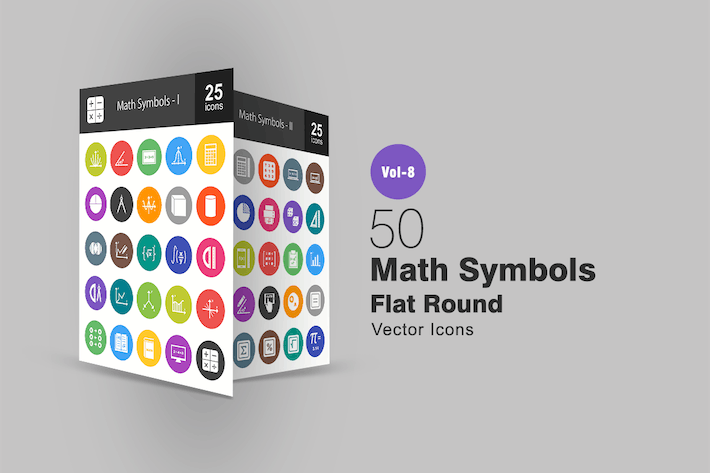 Thumbnail for 50 Math Symbols Flat Round Icons