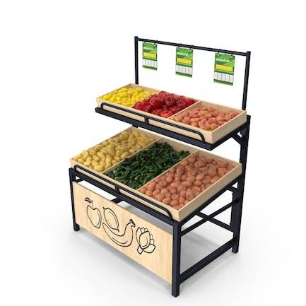 Holzständer mit Obst und Gemüse