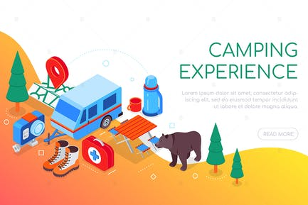 Camping experience - colorful isometric web banner