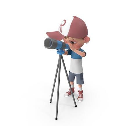 Cartoon Junge Harry mit Teleskop
