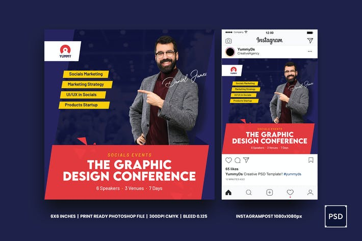 Thumbnail for Conference Square Flyer & Instagram PSD Template