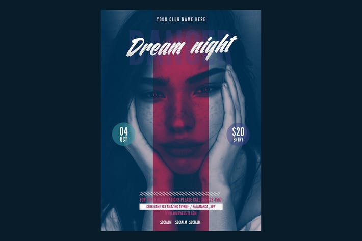 Thumbnail for Dream Night Music Flyer Poster