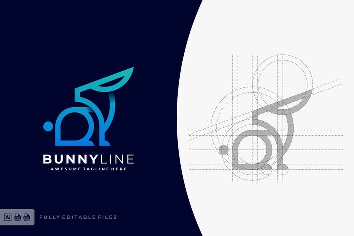Thumbnail for Bunny Color Line Logo Template