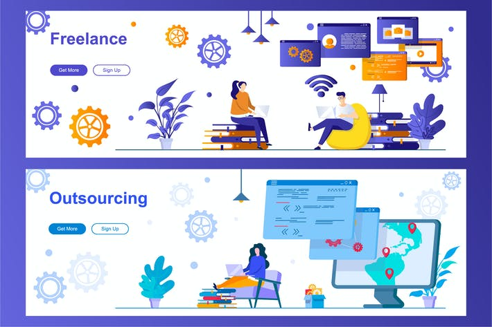 Thumbnail for Freelance and Outsourcing Web Banners