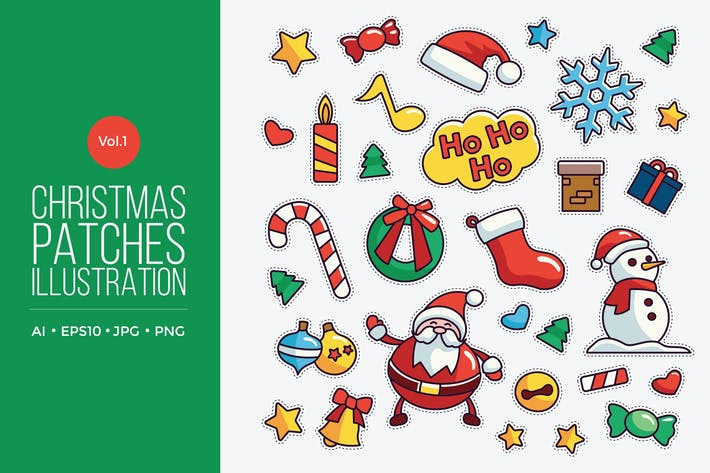 Thumbnail for Cute Merry Christmas Patches Vector Vol. 1
