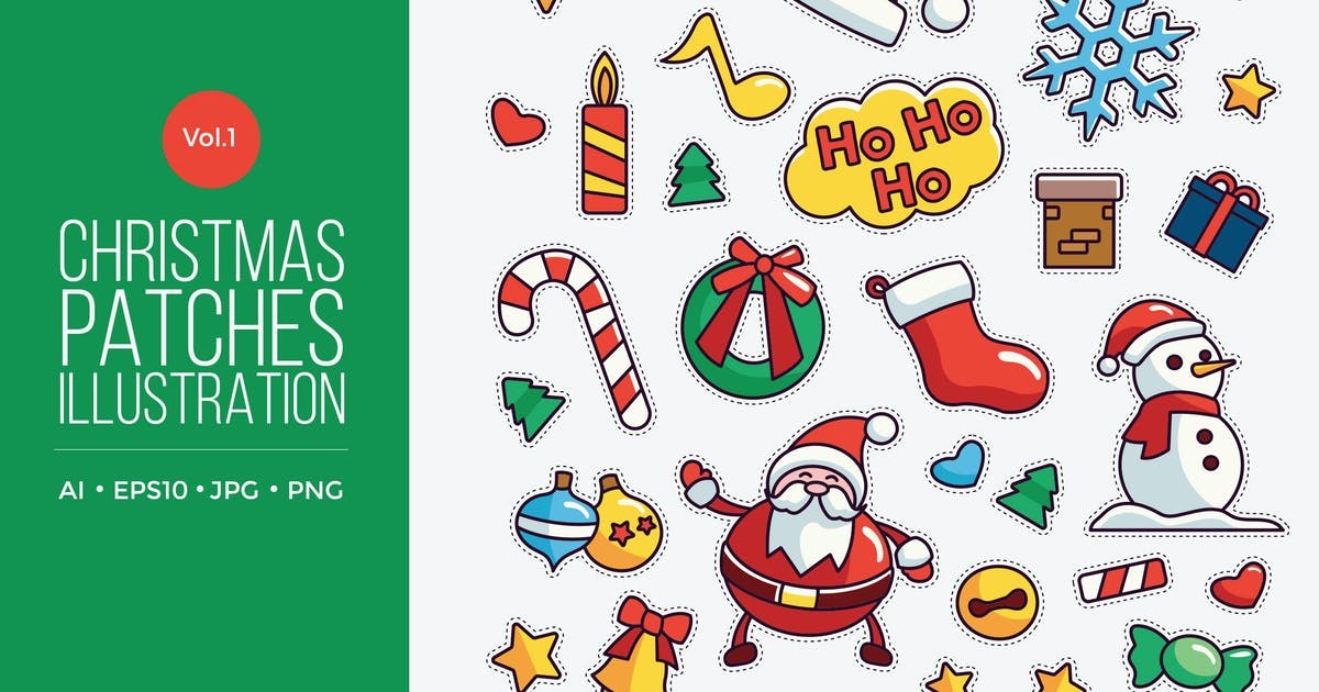 Download Cute Merry Christmas Patches Vector Vol. 1 by naulicrea