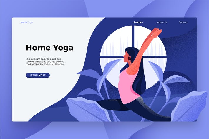 Cover Image For Home Yoga - Banner & Landing Page