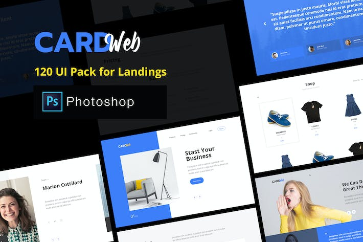 Thumbnail for Web UI Card Pack Landing Pages - Photoshop Version
