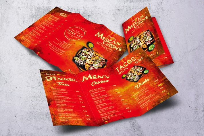 Thumbnail for Mexican Cuisine Trifold A4 & US Letter Food Menu