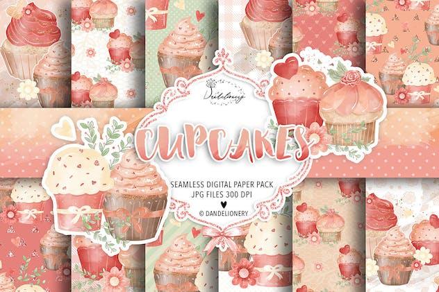Sweet cupcake digital papaers