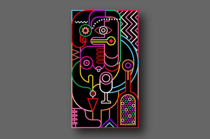 Thumbnail for Abstract portrait of a woman neon colors