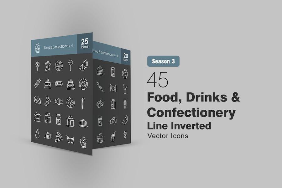 45 Lebensmittel-, Getränke- und Süßwarenlinie invertiert Icon