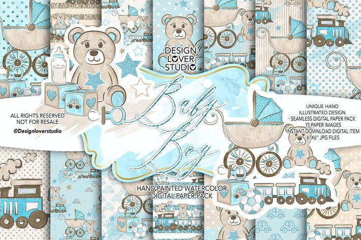 Thumbnail for Baby Boy digital paper pack