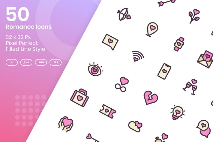 50 Romance Icons Set - Filled Line
