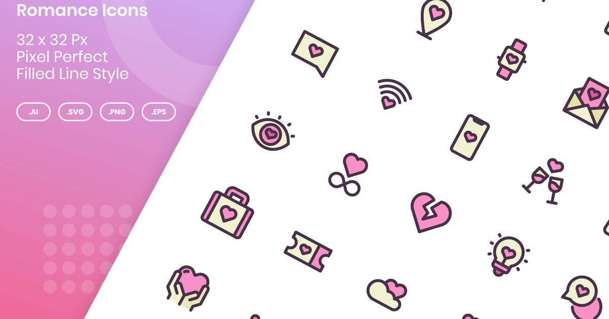 Download 50 Romance Icons Set - Filled Line by kmgdesignid