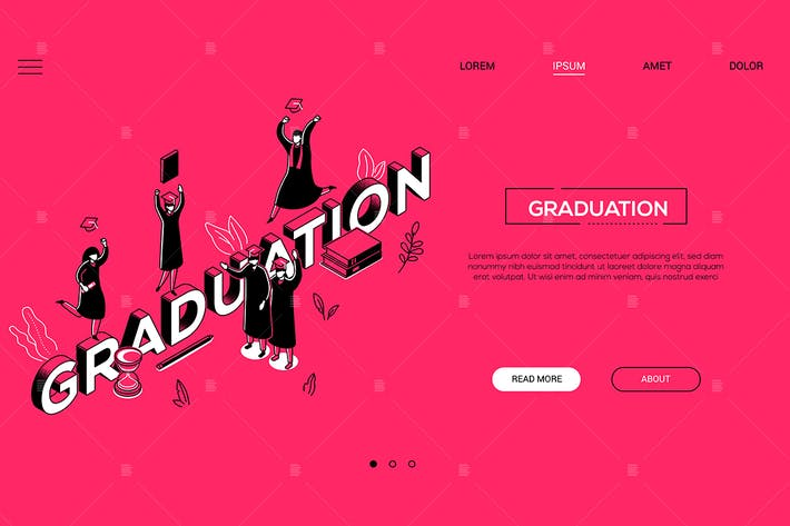 Thumbnail for Graduation - line design style isometric banner