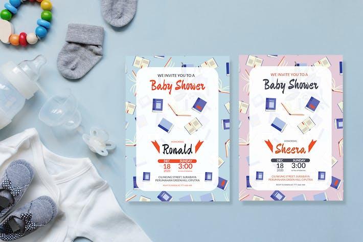 Thumbnail for Books Theme - Baby Shower Invitation