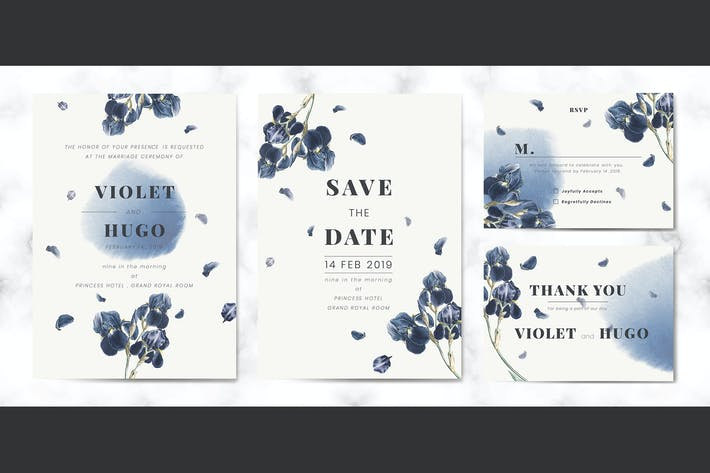 Thumbnail for Floral wedding invitation card set vector